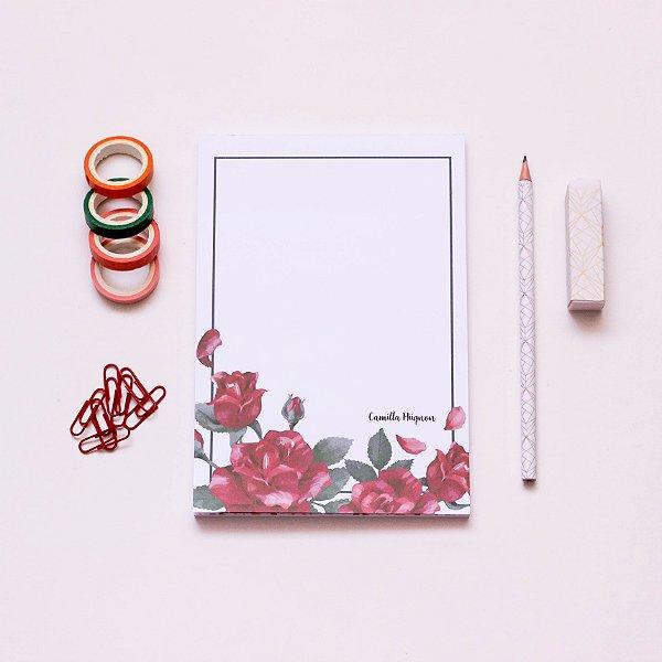 Bloco de notas - Rosas vermelhas