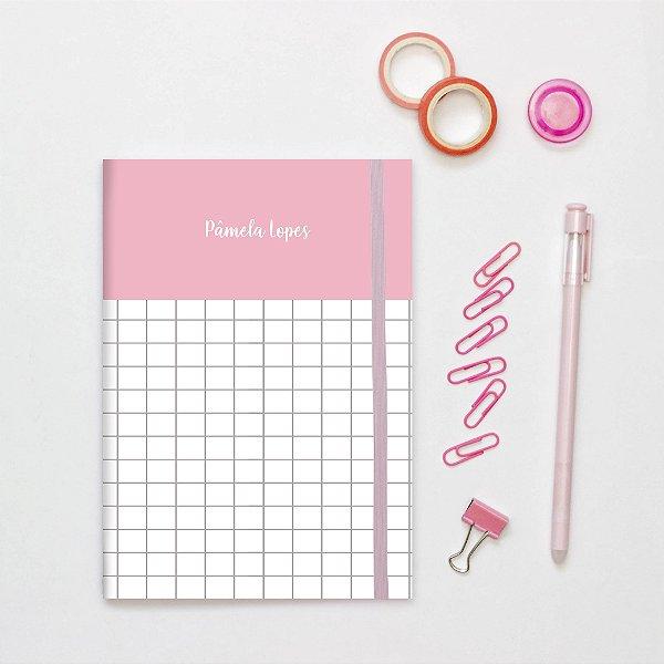 Caderno Flexível - Rosa quadriculado