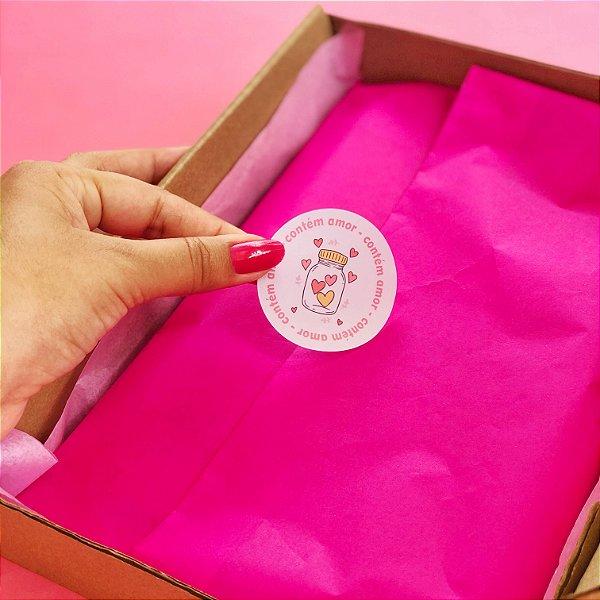Adesivo Redondo Contém Amor 5x5cm