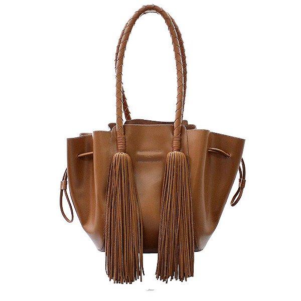 Bolsa Feminina PPOETA Shopping Franja Couro Caramelo