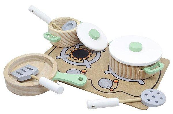 Conjunto panelas com utensílios e cooktop - menta