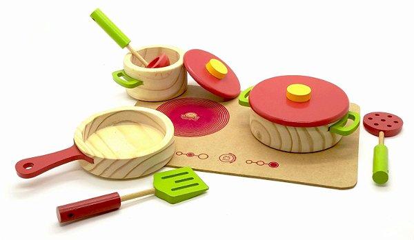 Conjunto panelas com utensílios e cooktop - vermelho