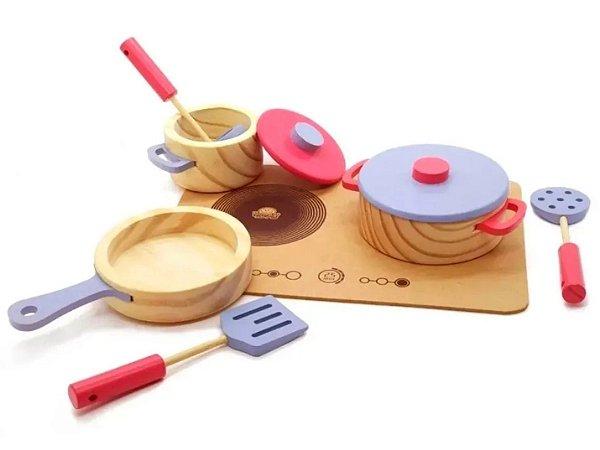Conjunto panelas com utensílios e cooktop - rosa