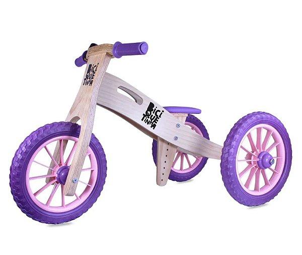 Triciclo 2 em 1 (vira bicicleta de Equilíbrio) Lenho Roxinho Rosa