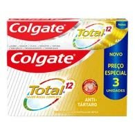 Creme Dental Colgate Total 12 90g Com 3 Anti Tártaro