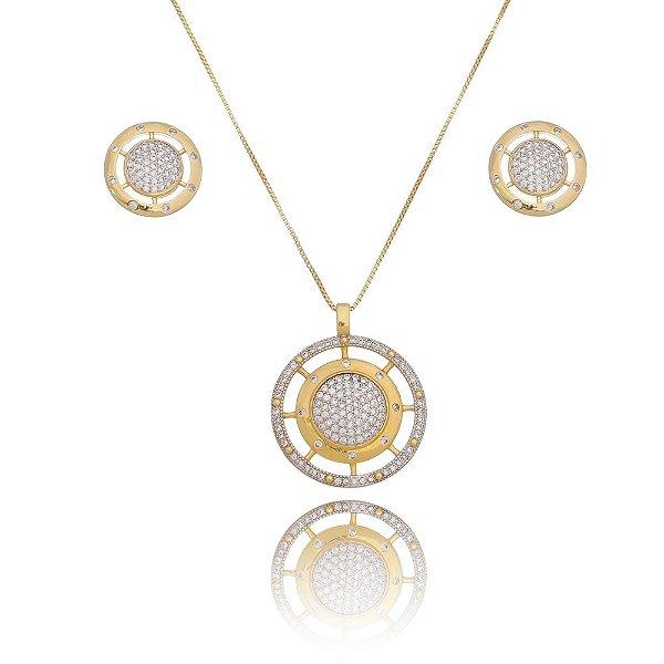 Conjunto Luxury com  zircõnias banho em ouro 18k
