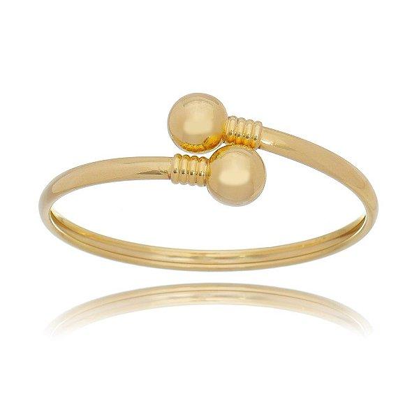 Bracelete liso com duas bolas  em Banho ouro 18k