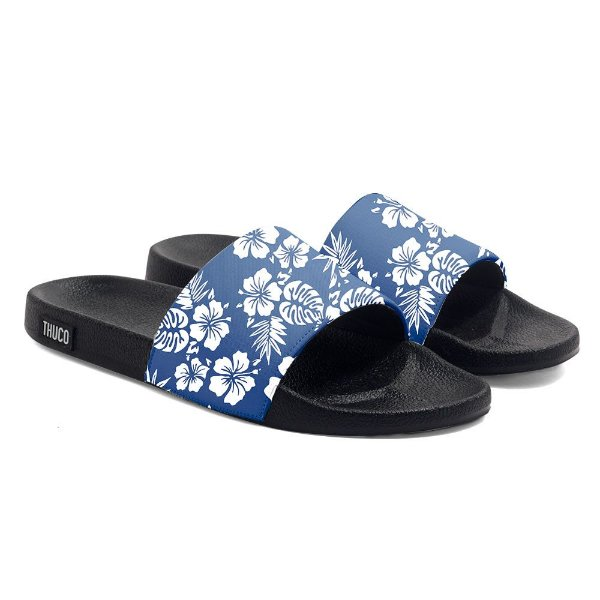 Chinelo Slide Use Thuco Floral Azul Claro