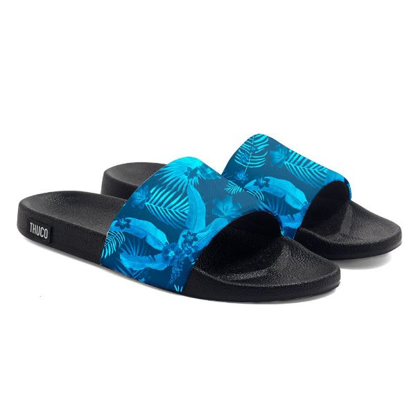 Chinelo Slide Use Thuco Floral Azul