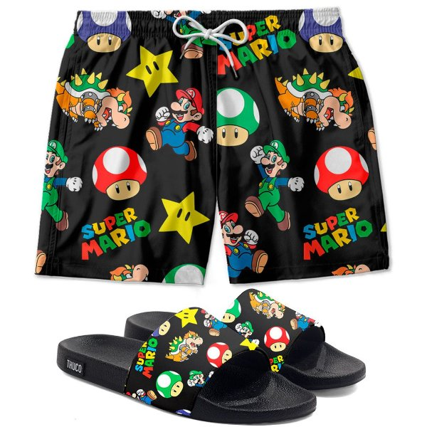 Kit Shorts E Chinelo Slide Super Mario Use Thuco
