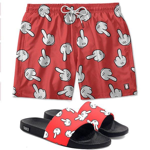 Kit Shorts E Chinelo Slide Mm Vermelho