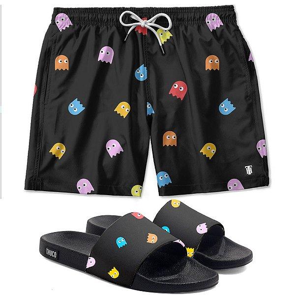 Kit Shorts E Chinelo Slide Pacman Use Thuco