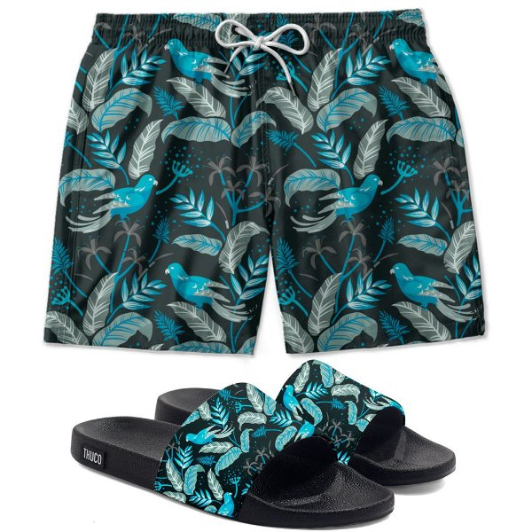 Kit Shorts E Chinelo Slide Estampado Floral Use Thuco