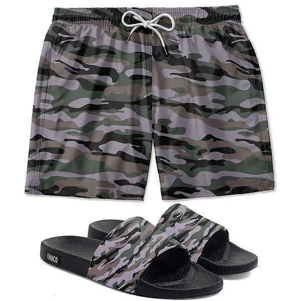 Kit Shorts E Chinelo Slide Camuflado Use Thuco