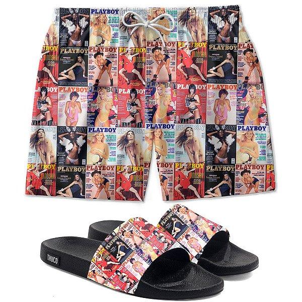 Kit Shorts E Chinelo Slide Playthuco Use Thuco