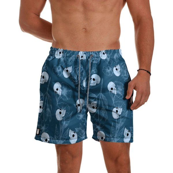 Short Praia Use Thuco Blue And Skulls
