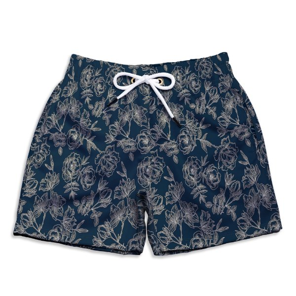 Short Praia Infantil UseThuco Floral Azul Marinho