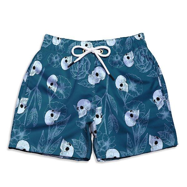 Short Praia Infantil UseThuco Blue And Skulls