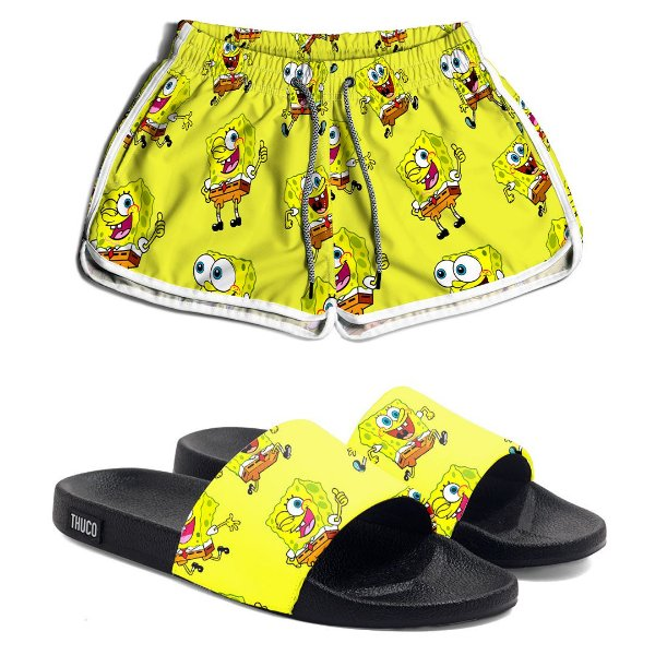 Kit Short e Chinelo Feminino Bob Esponja Use Thuco