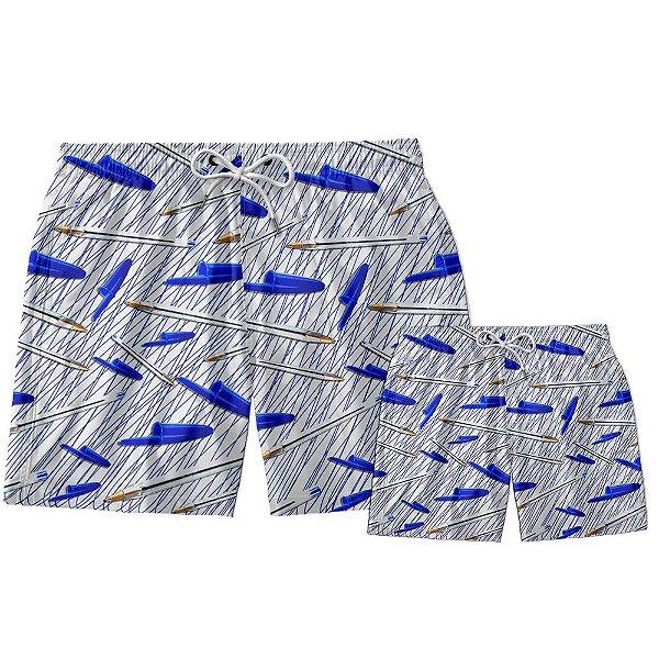 Kit Shorts Pai e Filho Caneta Azul Use Thuco