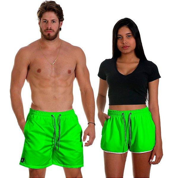 Kit Shorts Casal Masculino e Feminino Verde Limão Use Thuco