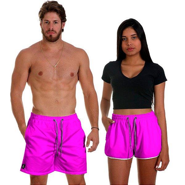 Kit Shorts Casal Masculino e Feminino Rosa Pink Use Thuco