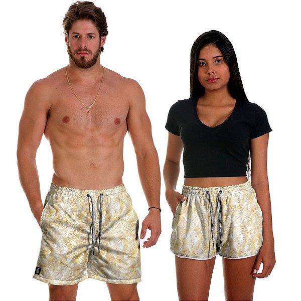Kit Short Casal Use Thuco Branco Réveillon Florido Gold