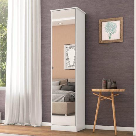 Armário Multiuso 1 Porta com Espelho Reflex II Demóbile branco