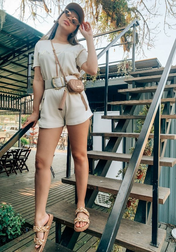 Shorts Diana ziper- suedine nude