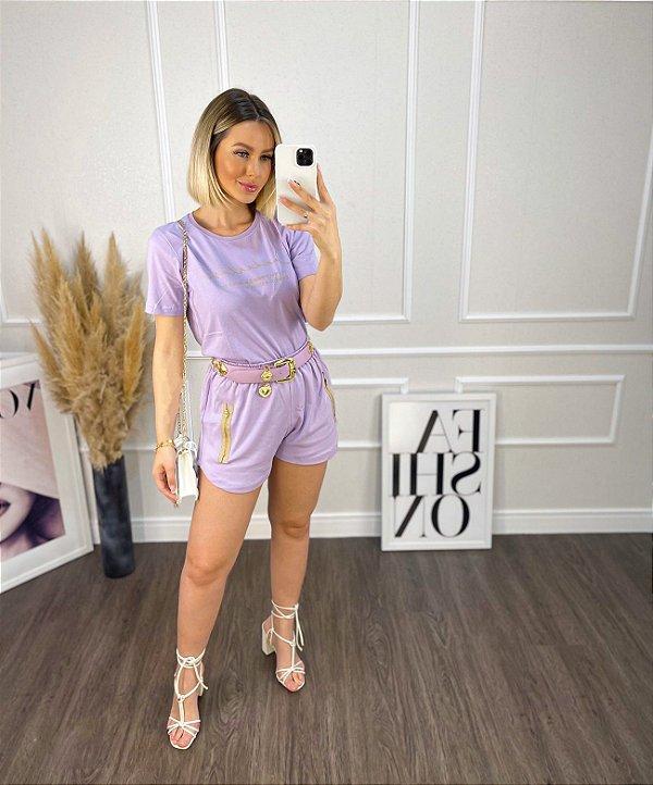 Shorts Diana ziper - suedine lilás
