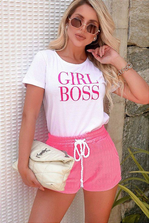 Tee white girl boss meia malha