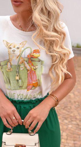 Tee flame dog bags green