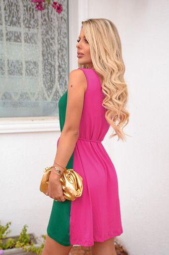Dress Gabi bicolor Verde com Pink