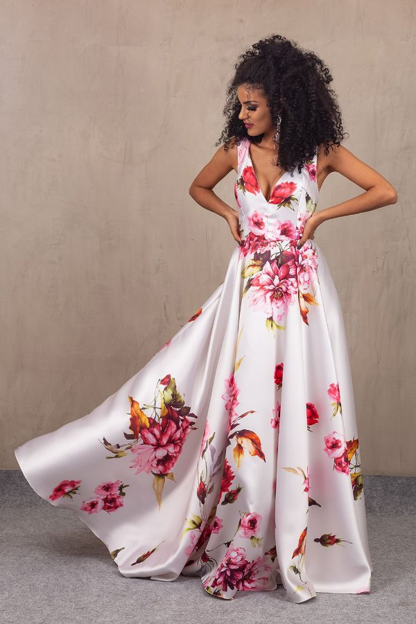 Vestido Carolina Brancoestampado