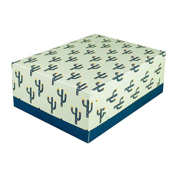 Caixa Tampa e Fundo Tamanho Pequeno (P) (14x14x07cm) Cactos com 5 Caixas