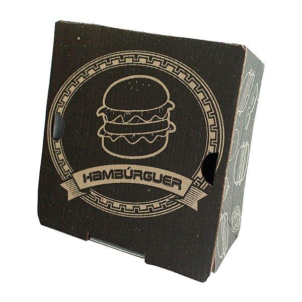 Embalagem de Papelão para Hambúrguer Nº03 13x13x6,7cm com 50 Hamburgueiras