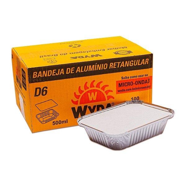 Bandeja Retangular de Alumínio 500ml D6 com Tampa Wyda