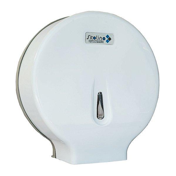 Dispenser para Papel Higiênico Rolão (300 a 600m) Branco Trilha