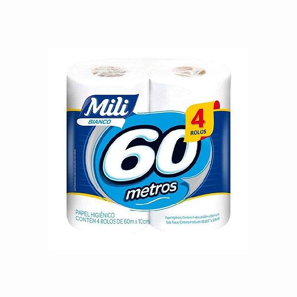 Papel Higiênico Mili Bianco Folha Simples 04x60m