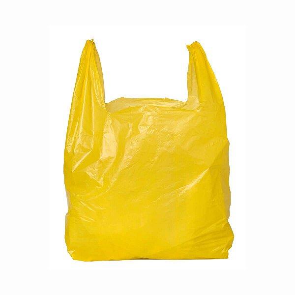 Sacola Plástica 38x48cm 0,0025mm Reciclada Amarela com 3 kg