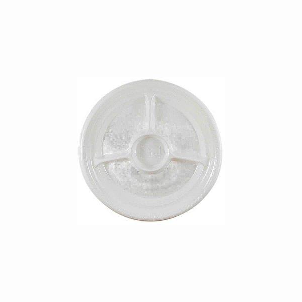 Prato Plástico Descartável 26cm com 3 Divisórias Branco Copoplast