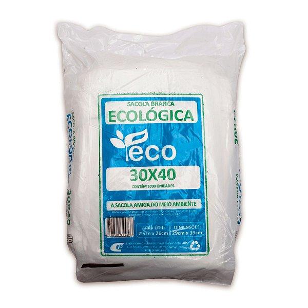 Sacola Plástica 30x40cm Ecológica Branca com 1000 Sacolas Centralplast Eco