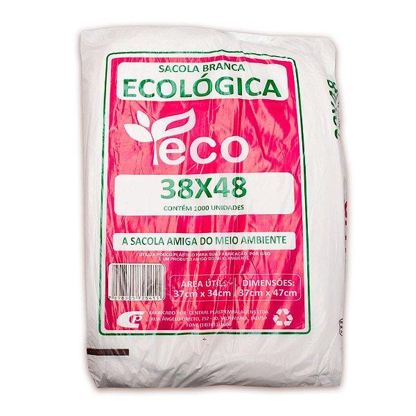 Sacola Plástica 38x48cm Ecológica Branca com 1000 Sacolas Centralplast Eco