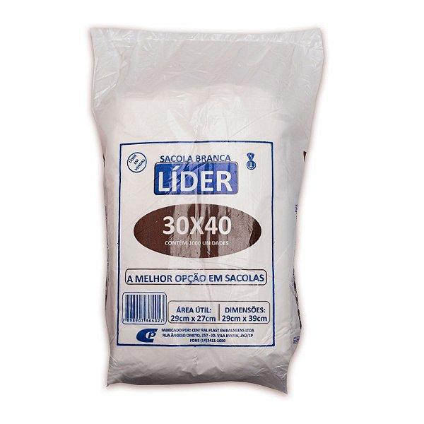 Sacola Plástica 30x40cm Branca com 1000 Sacolas Centralplast Líder