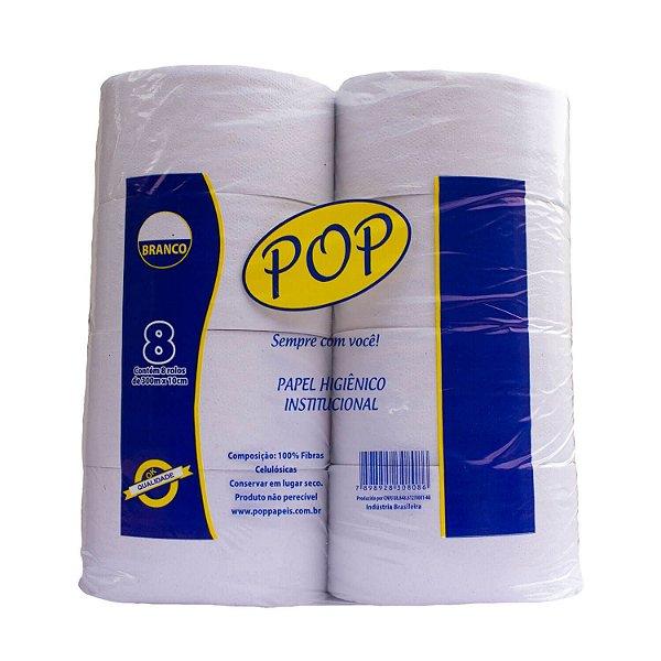 Papel Higiênico Rolão Folha Simples Branco com 8 Rolos de 300m POP
