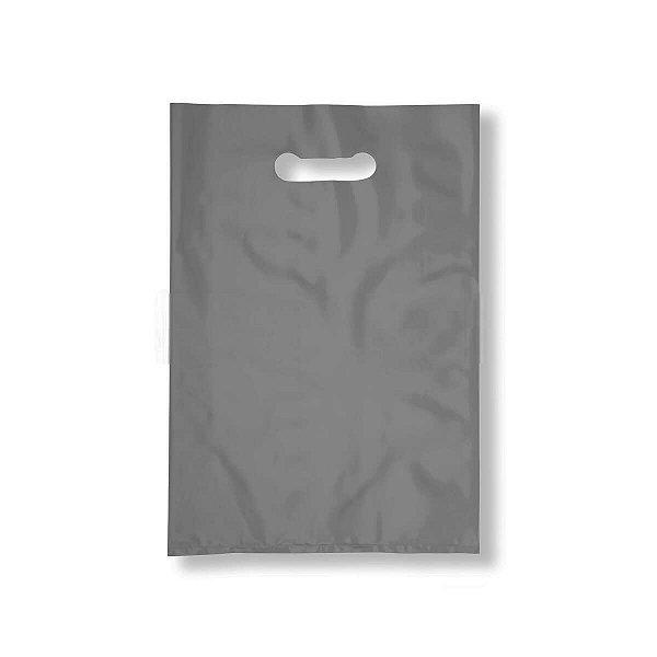 Sacola Plástica Boca de Palhaço 40x50cm 0,012mm Prata com 1 kg, 40 Sacolinhas