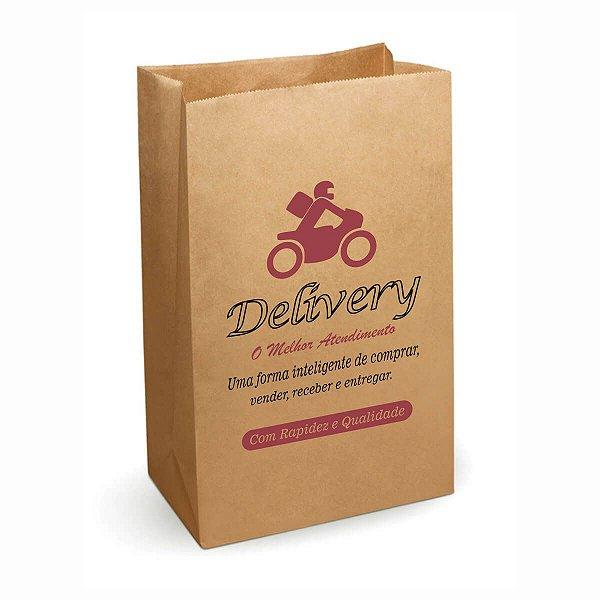 Saco de Papel Kraft SOS 17x35cm 05kg Personalizado Padrão para Delivery com 250 Embalagens