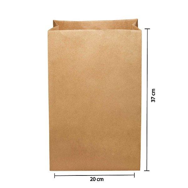 Saco de Papel Kraft SOS 20x37cm 10kg Liso para Delivery com 250 Embalagens