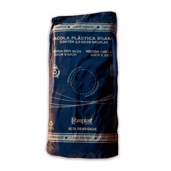 Sacola Plástica 30x40cm Branca Premium com 2,5 kg Libreplast