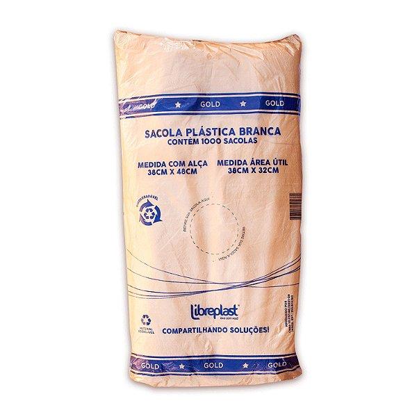 Sacola Plástica 38x48cm Branca Gold com 1000 Sacolas Libreplast